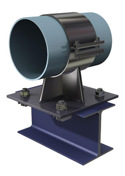 BeamClamp Application 23 — Heavy duty pipe support to I-Section