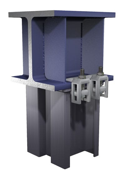 BeamClamp Application 30 — Two I-sections at 90 degrees with a sloping top beam using two location plates