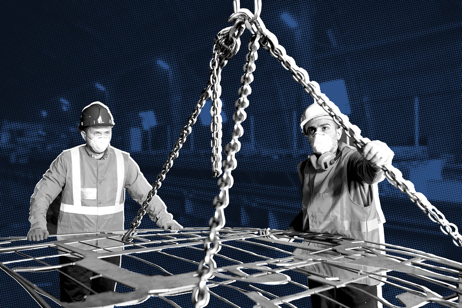 workers with steel beam for steel-to-steel connection